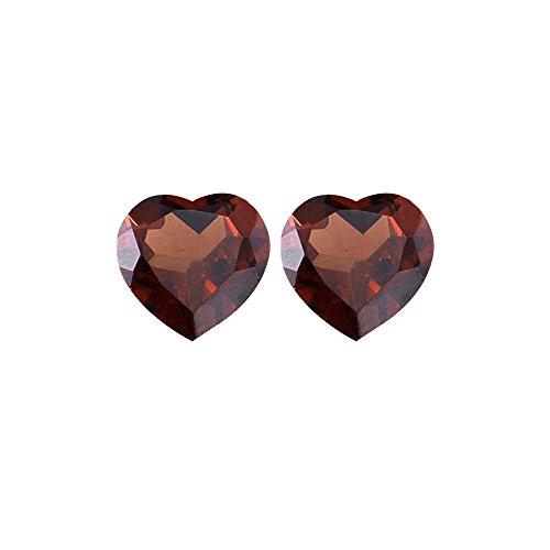 1.86 Cts of 6x6 mm AAA Heart Matching Loose Garnet (2 pcs set) Gemstones