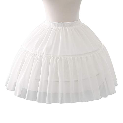 RingBuu Women Girls Petticoat - Multi Layer Cosplay Lolita Underskirt Elastic Waistband Single Steel Loop Bridal Wedding Dress Petticoat White Crinoline