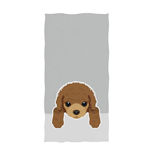 Naanle Cute Cartoon Poodle Dog Print Soft Absorbent Guest Hand Towels for Bathroom, Hotel, Gym and Spa (16 x 30 Inches,Gray)