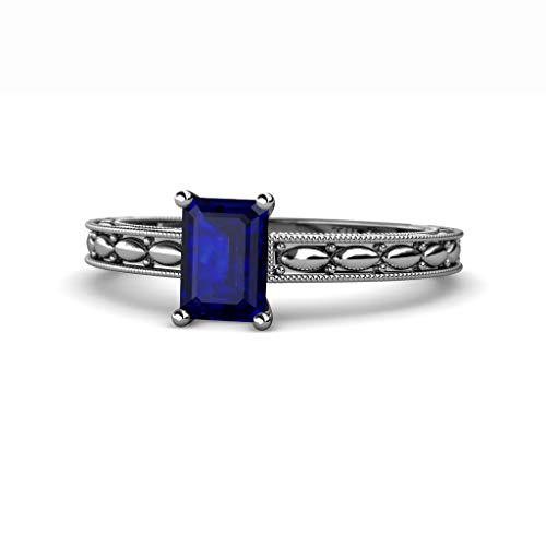 TriJewels Emerald Cut Blue Sapphire Design Womenss Solitaire Engagement Ring 14K White Gold.size 4.5 -