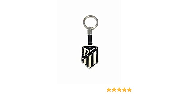 Llavero Atletico de Madrid Esmaltado Negro Cuero Producto Oficial