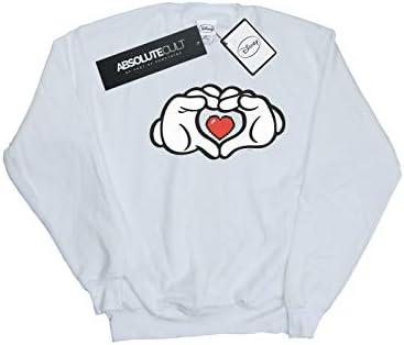Disney Herren Mickey Mouse Heart Hands Sweatshirt Weiß Medium