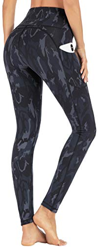 IUGA High Waist Yoga Pants with Pockets, Printed Leggings for Women 4 Way Stretch Pattern Yoga Leggings with Pockets (Gray Camo, Small)