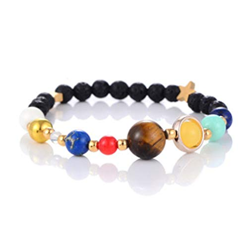 (Perfect style Universe GALAXY solar system eight planets bracelet guard star natural stone beading,BlackB)