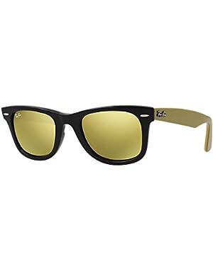 WAYFARER - BLACK Frame LIGHT BROWN MIRROR GOLD Lenses 54mm Non-Polarized
