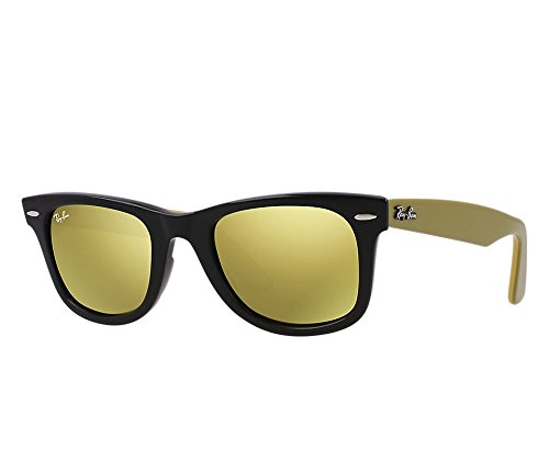 Ray-Ban WAYFARER - BLACK Frame LIGHT BROWN MIRROR GOLD Lenses 54mm - Gold Ray Ban Wayfarer