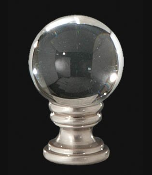 B&P Lamp Clear Crystal Ball Finial, 1 5/8 in Ht. 1/4-27 ()