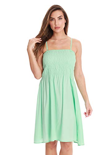 - Riviera Sun Solid Short Dress with Smocking 21886-MIN-S Mint