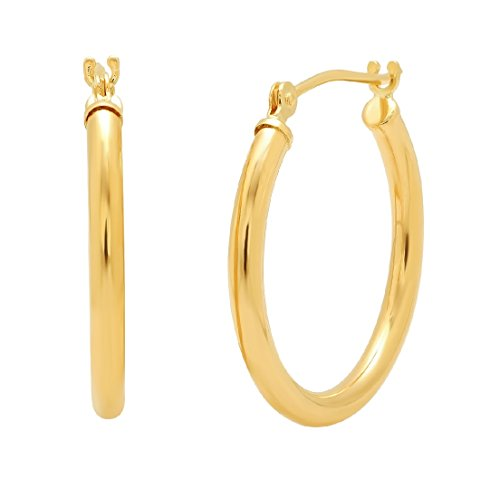 10K Yellow or White Gold 3/4 inch Hoop Earrings