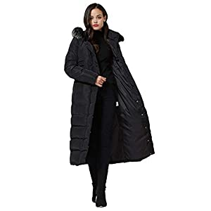 Molodo Women's Long Down Coat with Fur Hood Maxi Down Parka Puffer Jacket