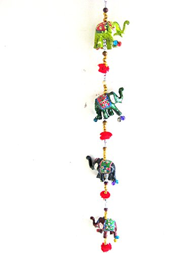 Elephant Door Hanging String Chime Elephant Hanging Decor Elephant String Ornament, BRASS- LG SIZE -48″ – OMA BRAND