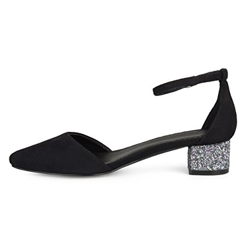 Journee Collection Mujeres Pointed Toe Correa Para El Tobillo Glitter Heels Negro