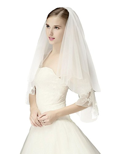 (Wedding Bridal Veil with Comb 2 Tier Pencil Scalloped Edge Fingertip Length 34
