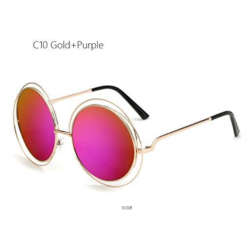Vintage Grande Rétro Lunettes Miroir Taille Soleil Grand De Surdimensionnées Femme Purple Mode Ackj Gold Lady Rondes 0paOxqxw