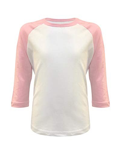 (Kids Baseball Raglan T-Shirt 3/4 Sleeve Infant Toddler Youth Athletic Jersey Sports Casual (10+ Colors) (2T, White/Light Pink))