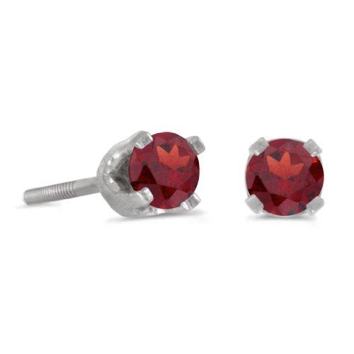 14k Petite White Gold Round Garnet Children sScrew-back Stud Earrings