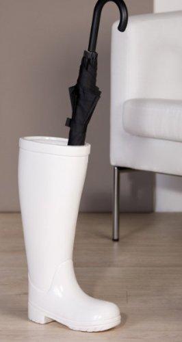 Casa Padrino Designer Schirmständer Stiefel, Höhe 45 cm, edle Skulptur aus Keramik weiss - Edel & Prunkvoll Höhe 45 cm