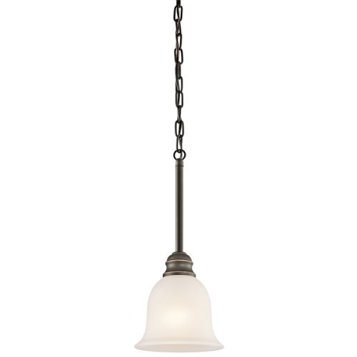(Kichler Lighting 42901OZ Tanglewood 1-Light Mini-Pendant, Old Bronze Finish with Satin Etched Glass by)