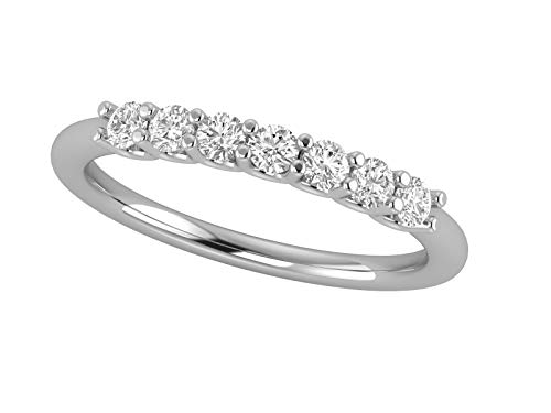14K White Gold 1/2 Carat (H-I Color, SI2-I1 Clarity) 7 Stone Natural Diamond Anniversary/Wedding/Fashion/Stackable Band for Women