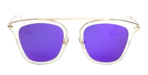 Flowertree JTS8243 Plastic Metal Outlined Brow Bar Cat-eye Sunglasses - Sunglasses Wrapped Wire