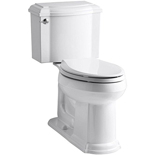 KOHLER K-3837-0 Devonshire Comfort Height Two-Piece Elongated 1.28 gpf Toilet, White