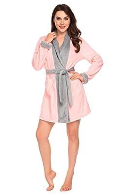 ETUOJI Womens Robe Turkish Flannel Kimono Bathrobe Colour Patchwork Loungewear S-XL