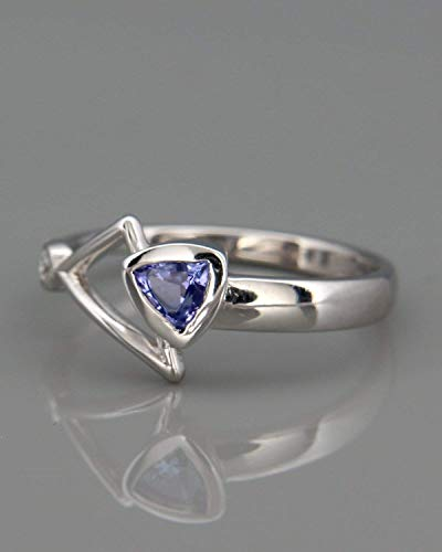 (| 14k White Gold Ring set with Tanzanite and Diamond | Solid 14k white gold ring set with trillion cut natural Tanzanite and a diamond)