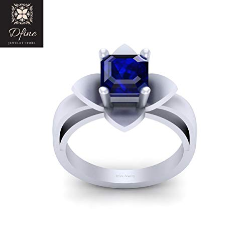 Asscher Cut 2.10ct Blue CZ Solitaire Wedding Ring Engagement Ring 925 Sterling Silver
