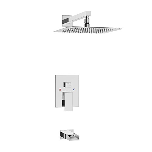 (SR SUN RISE Bathroom Luxury Rain Mixer Shower Tub Spout Combo Set Wall Mounted Rainfall Shower Head System Polished Chrome (Contain Shower faucet valve body and trim))