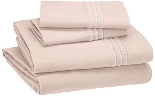AmazonBasics Embroidered Hotel Stitch Sheet Set - Premium, Soft, Easy-Wash Microfiber - Full, Blush Pink (Set Pottery Barn Sheet)
