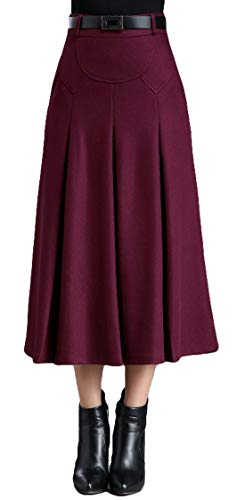 Itemnew Womens Elegant High-Waist A-Line Pleated Midi Woolen Skirt with Pockets (Large, Wine Red) -