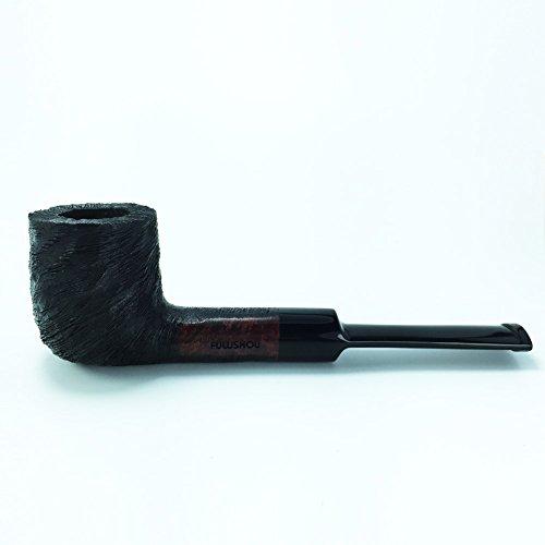 (FULUSHOU Mediterranean Briar Wood Tobacco Pipe, Delicate Carved Straight Handle Pipe)