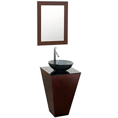 Wyndham Collection Esprit 20 inch Pedestal Bathroom Vanity in Espresso, Smoke Glass Countertop, Smoke Glass Sink, and 20 inch Mirror - Constructed of beautiful natural wood veneers over the highest quality Grade E1 MDF, engineered for durability to prevent warping and last a lifetime. 8-stage painting and finishing process. Floor-standing vanity. Contemporary, unique design is perfect for a cutting edge powder room application. Single-hole faucet mount. Includes smoke glass counter. Includes choice of glass, porcelain or optional granite vessel sink. Includes matching mirror. No external hardware. No drawers or doors. - bathroom-vanities, bathroom-fixtures-hardware, bathroom - 31n7K6CxZGL. SS400  -