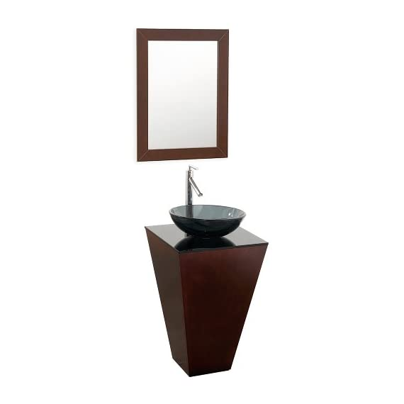 Wyndham Collection Esprit 20 inch Pedestal Bathroom Vanity in Espresso with Smoke Glass Top with Smoke Glass Sink - Constructed of beautiful natural wood veneers over the highest quality Grade E1 MDF, engineered for durability to prevent warping and last a lifetime Includes smoke glass counter No external hardware - bathroom-vanities, bathroom-fixtures-hardware, bathroom - 31n7K6CxZGL. SS570  -
