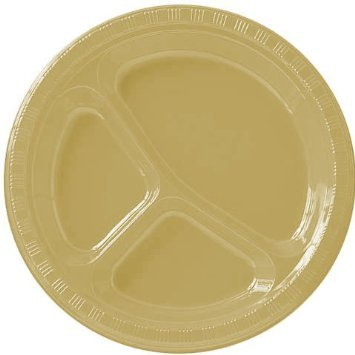 """Divided Party Plates - Amscan Reusable Round Divided Plastic Dinner Plates Tableware Saver Pack Party Supplies (200 Piece), Gold, 10"""""""