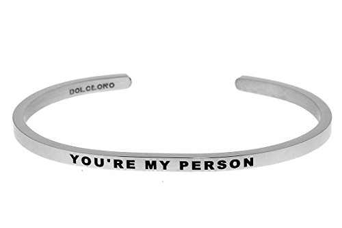 3mm Cuff (Dolceoro Mantra Bracelet Phrase: YOU'RE MY PERSON - 316L Surgical Steel Dainty 3mm Cuff Band)