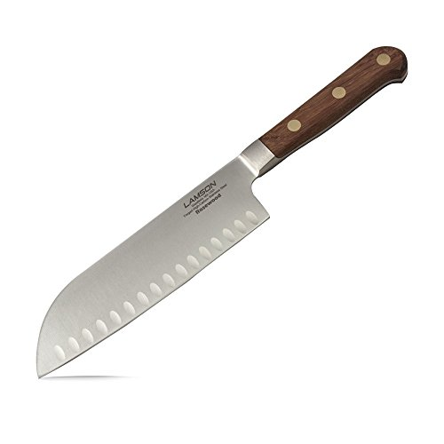 Lamson 39753 Rosewood Forged 7-inch Kullenschliff Santoku Knife - Forged Kullenschliff Santoku Knife