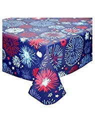Fireworks Flannel Back Vinyl Tablecloth 4th of July Decoration Patriotic Table Cover (60 x 102 Rectangle) ()