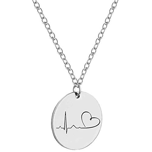 Baby Heartbeat Love Pendant Necklace Gold Heart EKG Cardiogram Disc Necklace Women Dainty Jewelry (Silver (Love Disc Pendant)