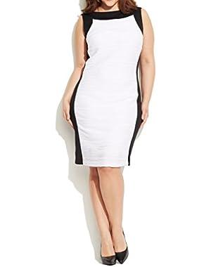 Calvin Klein Women's Textured Colorblocked Jersey Dress