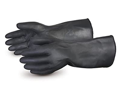 """Superior NE240TKL Chemstop Terry-Lined Heavy-Duty Neoprene Glove, Work, Chemical Resistant, 0.030"""" Thickness, 16"""" Length, (Pack of 1 Pair)"""