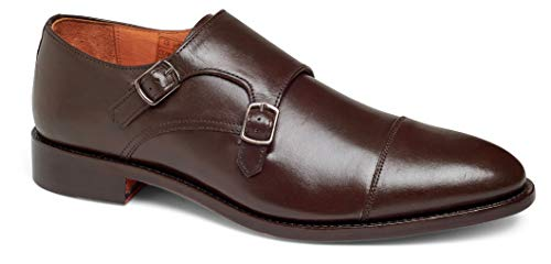 Anthony Veer Mens Roosevelt II Oxford Double Monk Strap Leather Shoe in Goodyear Welted Construction (9.5 D, Brown)