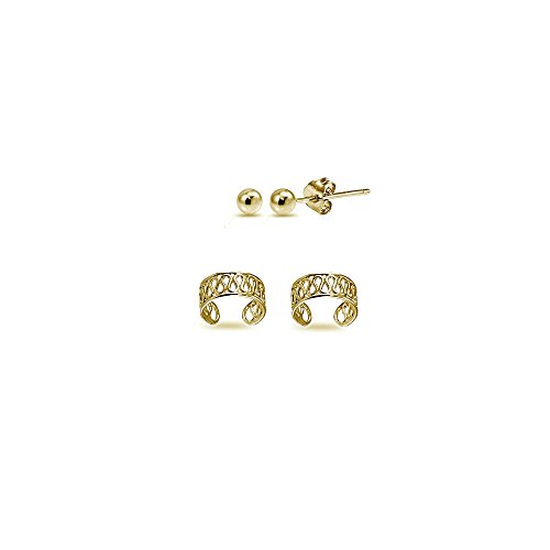 Cuff 3mm (2 Pairs Gold Flash Sterling Silver Unisex Filigree Ear Cuffs and 3mm Bead Ball Stud Earrings Set)