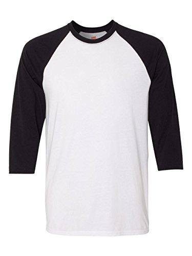 - Hanes Unisex X-Temp Performance Baseball Tee, 42BA, M, White/Black
