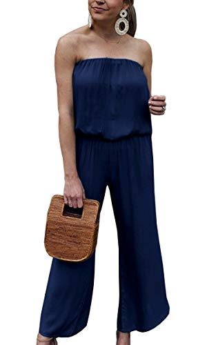 ECOWISH Women Summer One Piece Off Shoulder Jumpsuit Solid Backless Tube Top Romper Navy Blue Medium