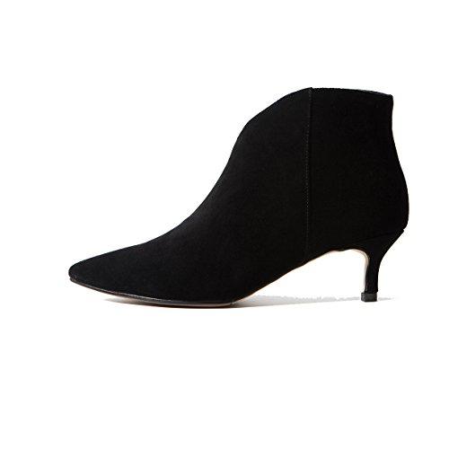 Style Bottes Fine Moyen Bottines Femmes Talon Mode Black Avec Pointues Nouveau Pour nWO77Tr1t