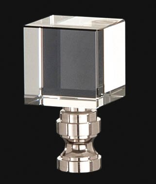 B&P Lamp Clear Cube Crystal Finial, 1 3/4 In Ht. 1/4-27 Tap