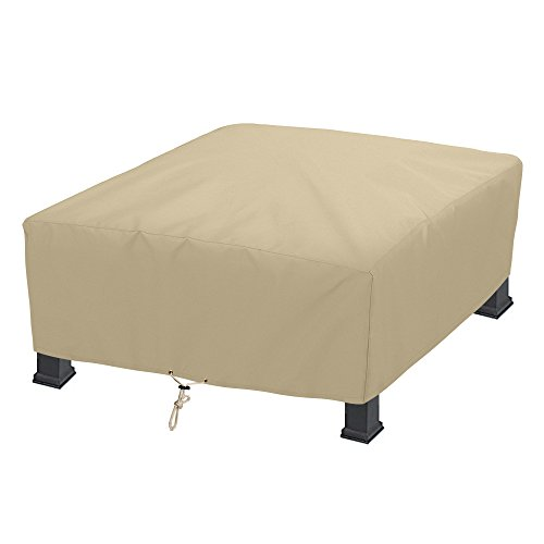 (SunPatio Outdoor Square Fire Pit Cover 42 Inch, Waterproof Firepit/Table Cover, Heavy Duty Patio Furniture Set Cover, All Weather Protection, Beige)