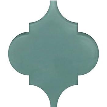 SMALL SAMPLE - Seaside Aqua Colored Arabesque Glass Tile