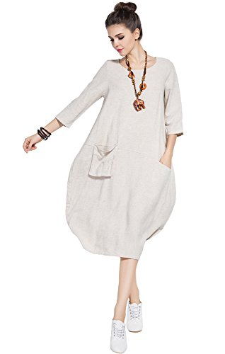 (Anysize Soft Linen Cotton Lantern Loose Dress Spring Summer Fall Plus Size Clothing Y19 Beige)